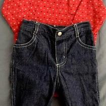 Baby Gap Boys 6-12 Months Lined Jeans Red White Blue Stars Romper 2 Piece Set Photo