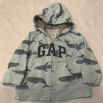 Baby Gap Boys Aqua Blue Whale Print Zip Up Sweatshirt Hoodie - 12-18 Months Photo