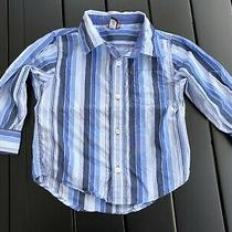 Baby Gap Boys Blue Navy White Striped Cotton Button Down Shirt Top Tee 3 Years Photo