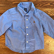 Baby Gap Boys Button Up Shirt Blue Size 18-24 Months Photo