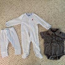 Baby Gap Boys Eu Lot 0-3 Months- Gray Collared Onesie One Piece Blue Polka Dots Photo