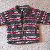 Baby Gap Boys Green/red Striped Sherpa Fleece Jacket Coat 12-18 Month Warm Photo
