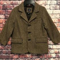 Baby Gap Boys Herringbone Blazer 75% Wool Size 4 Elbow Patches Photo