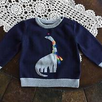 Baby Gap Boys Navy Blue Gray Cable Knit Sweater Dinosaur Pullover 18-24 Month Photo