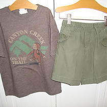Baby Gap Boys Olive Green Shorts 3 Years Junk Food Curious George Tee 5 Photo