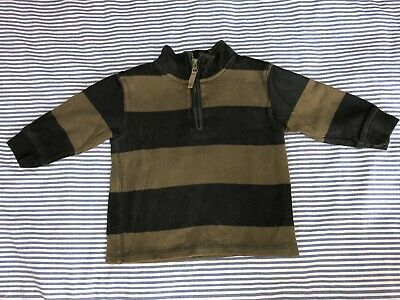 Baby Gap Boys Olive Green Striped Sweater Top 2 Years Zippered Polo SELLING TONS Photo