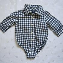 Baby Gap Boys Plaid Black & White Buttons Front Cotton Shirt Bodysuit 3-6 Month Photo