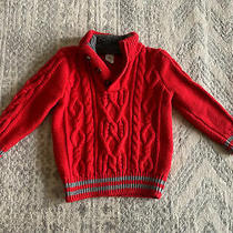 Baby Gap Boys Red Cable Knit Mock Neck Sweater Heavy 3t Photo