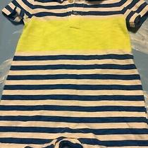 Baby Gap Boys Romper Size 3-6 Months Striped Neon Green Blue White Stripes  Photo