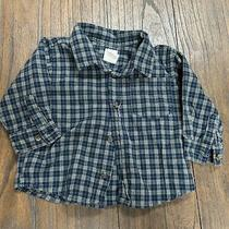 Baby Gap Boys' Size 6m 12m Navy Plaid Button Down Long Sleeve Shirt 100% Cotton Photo