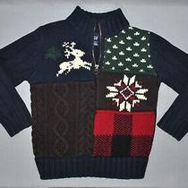 Baby Gap Boys Sweater Size 4 Knit Patchwork Wool Blend 1/4 Zip Preppy Pullover Photo