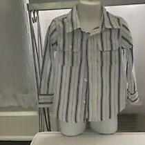 Baby Gap Boys Sz 3t Striped Long Sleeve Button Front Blouse White and Blue Cute Photo