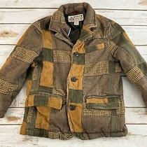 Baby Gap Boys Toddler Brown Herringbone Wool Blend Blazer Jacket Patchwork 5t Photo