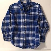 Baby Gap Boys Toddler Plaid Checker Shirt Long Sleeve Size 5 Years Blue White Photo