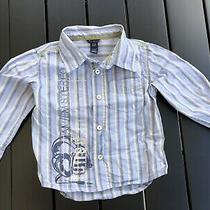 Baby Gap Boys Toddlers Blue Striped Button Down Shirt Top Tee 3 Years Photo