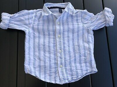 Baby Gap Boys Toddlers White Blue Striped Linen Cotton Shirt 2 Years Top Tee Photo