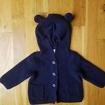 Baby Gap Brannan Bear Ears Navy Blue Cotton Sweater Hoodie Euc 3-6 Months 34.95 Photo