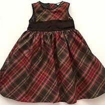 Baby Gap Brown Red Plaid Holiday Special Occasion Dress for 2 Year Girl (M14) Photo
