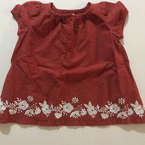 Baby Gap Cotton Infant Girls 3-6 Months Red Polka Embroidered Dress Lined Photo