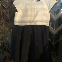 Baby Gap Cotton White and Navy Dress 3t Photo
