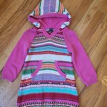 Baby Gap Crazy Bright Stripe Knit Sweater Dress Hood Fair Isle Toddler Girl 4t Photo