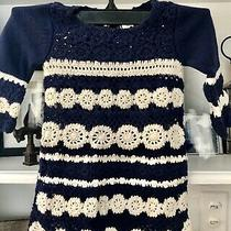 Baby Gap Crochet Sweater Dress Navy  White 6-12mo Photo