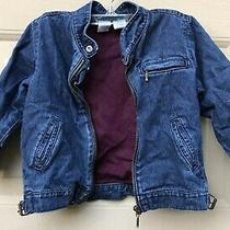 Baby Gap Denim Jean Jacket Lined With Burgandy Netting Size 3 Years 3xl Photo