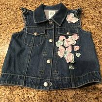Baby Gap Denim Vest  Embroidered Flowers  Size 2 Xl 2 Yrs Ruffle Sleeve Detail Photo