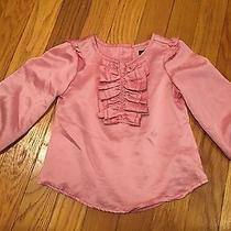 Baby Gap Designer Rare Blush Pink Silky Ruffle Shirt Blouse Euc 12/18 M Photo