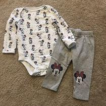 Baby Gap Disney Girl Minnie Mouse Set Pants Red Gray Size 6-12 Months Photo