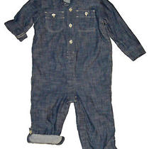 Baby Gap Factory Nwt Blue Chambray Jersey Lined Shirt Romper 0-3 18-24 27 Photo