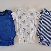 Baby Gap Favorites 3 Short Sleeved Bodysuits Sz 0-3 Mth Blue Jelly Fish Mustache Photo