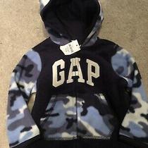 Baby Gap Fleece Jacket Baby Boy Blue Camo Coat Hoodie Bear Hood 6-12 Months Photo