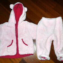 Baby Gap Furry Pink Bear Cub Zip Up Jacket/pants With Paws Size 6-12 Months Euc Photo