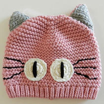 Baby Gap Garter Stitch Pink Cat Knit Hat Infant Girls Up to 7 Lbs Nwt New Photo