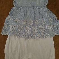 Baby Gap Girl 12-18 Month 1 Piece Blue Linen Outfit Photo