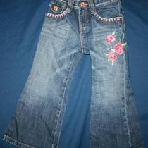 Baby Gap Girl 3 3t Victorian Pink Shabby Rose Chic Embroidered Dark Jeans Pants Photo