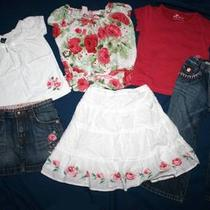 Baby Gap Girl 3 3t Victorian Shabby Rose Chic Huge Shirt Top Jeans Skirt Lot Set Photo