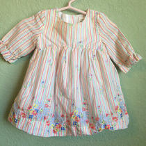 Baby Gap Girl 3-6 Months Long Sleeve Dress Stripes Floral Photo