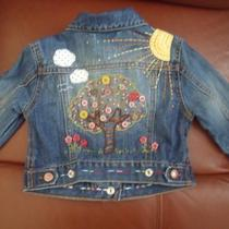 Baby Gap Girl Embroidered Denim Jacket 12-18m Vguc Photo