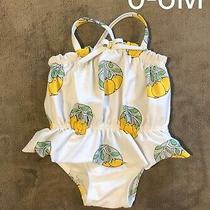 Baby Gap Girl Lemon Print One Piece Ruffle Swimsuit Bathing Suit 0-6 Months Photo