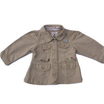 Baby Gap Girl's Infant Jacket Beige Cotton Floral Embroidered Coat Sz. 6-12 Mos. Photo
