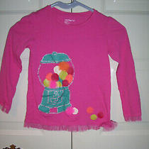 Baby Gap Girl's Pink Long Sleeve Top Bubble Gum Graphic Mesh Trim Size 5t Photo