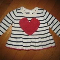 Baby Gap Girl's Red Heart Striped L/s Sweater 3-6 Months  Photo