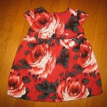 Baby Gap Girl's Red Roses S/s Party Dress Flowers 18-24 Months Floral Photo