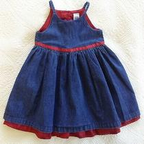 Baby Gap Girl's Toddler Summer Dress Denim Blue & Red Size 3xl (3yrs) Photo