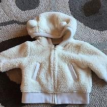 Baby Gap Girls 0-3 Month Cream Ivory Fleece Bear Ears Hooded Jacket Hoodie Euc Photo