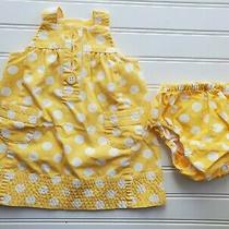 Baby Gap Girls 0-3 Months Dress White Yellow Polka-Dot Dressy Spring Fall  Photo