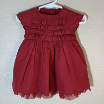 Baby Gap Girls 0-3 Months Red Ruffled Party Cocktail Holidays Dress Special Day Photo