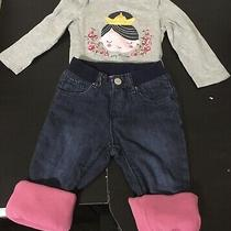 Baby Gap Girls 18-24 Months Outfit. Tiny Princess & Pink Fleece Lined Jeans. Photo